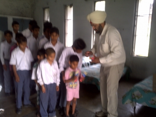 Blind school paste distribution
